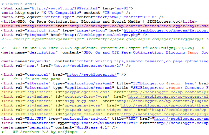 Source Code Screenshot - Before CSS Stylesheets are Combined